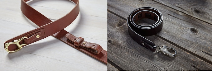 #1 Brass Hitch / Light Brown Leather (Left) #2 Nickel Bowline / Dark Brown Leather (Right)