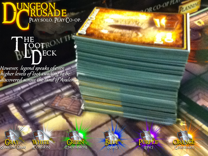 The massive loot deck of Dungeon Crusade. 190 loot cards just in the base edition, plus MUCH more in the form of stretch goals.
