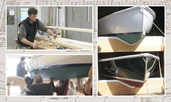 Dave buliding his first wooden boat at The Landing School in Maine.