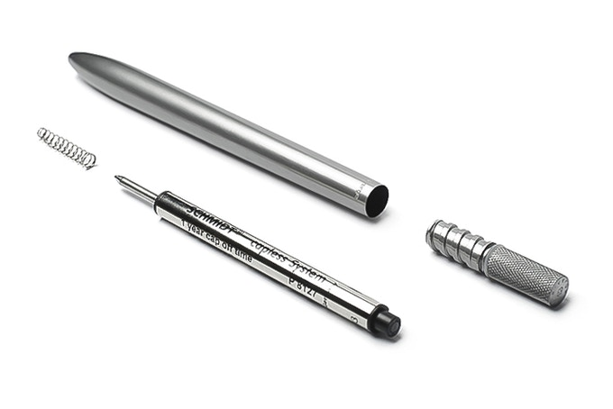 Our pen consists only from two solid metal parts, refill and spring.