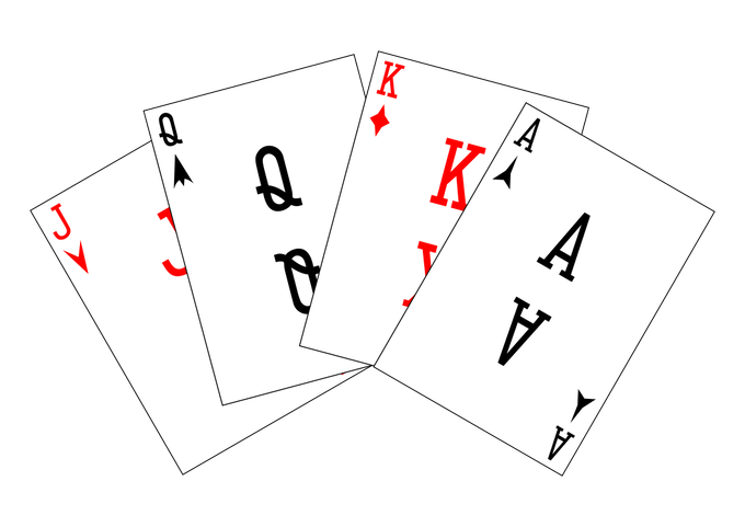 From left to right: Jack of Hearts, Queen of Spades, King of Diamonds, Ace of Clubs