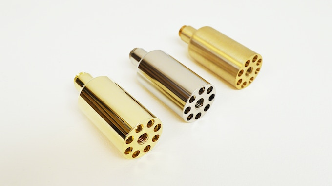 Available [left to right] in brass plated, chrome and solid brass