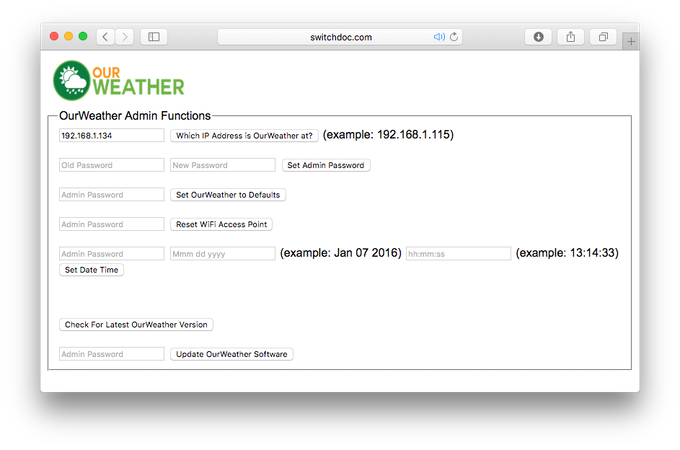 OurWeather Administrative Page