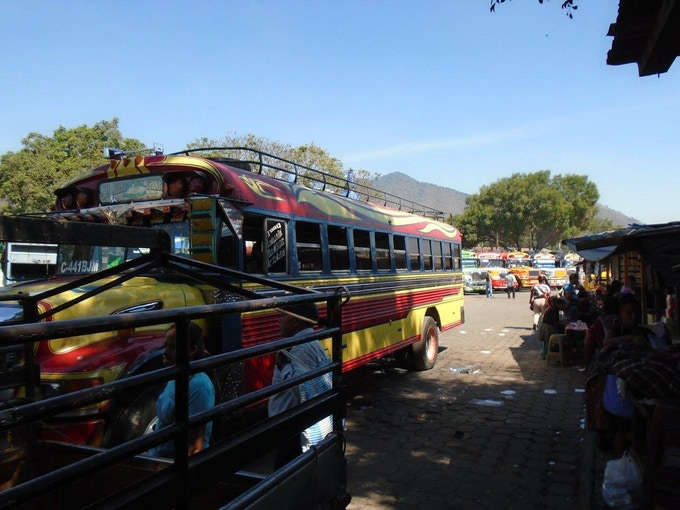 """A """"Chicken bus"""" - the locals main mode of transportation and how I traveled throughout Central America (an adventure in and of itself)"""