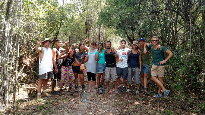 Me and volunteers from all over the world before embarking on a weeklong journey through the Guatemalan Jungle