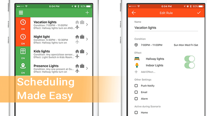 Have your lights turn on and off while you are away on vacation giving people the illusion you are home. The Kasia app even knows when sunrise and sunset is so your lights can turn on exactly when they need to.