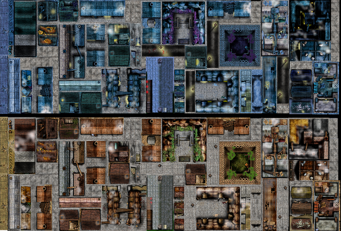Daynight reversible deluxe city rooftop tile set for rpg by kris all in one highly detailed rooftopalley double sided tiles in malvernweather Images