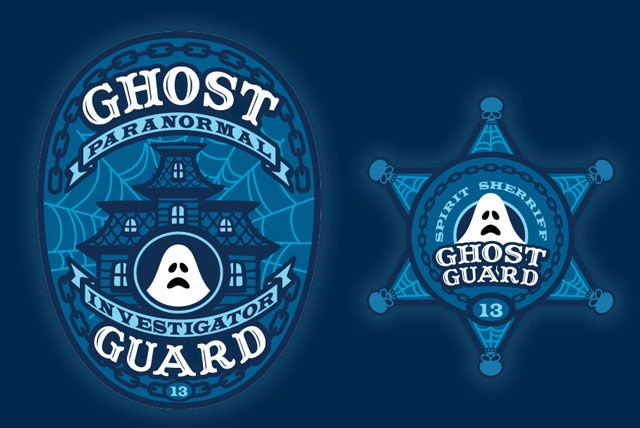 """""""Paranormal Investigator"""" and """"Spirit Sheriff"""" stretch goal patches."""