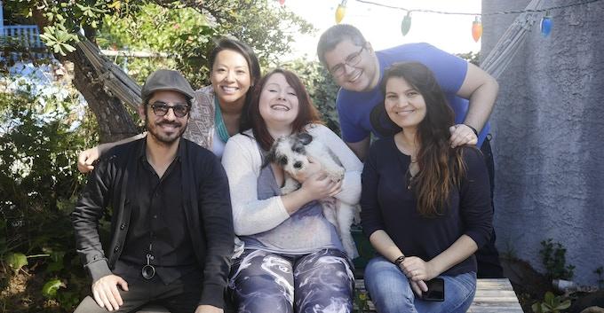 Alejandro, Chao, Corina, Alexandre, and Melissa (with Panda the Dog on Corina's lap)