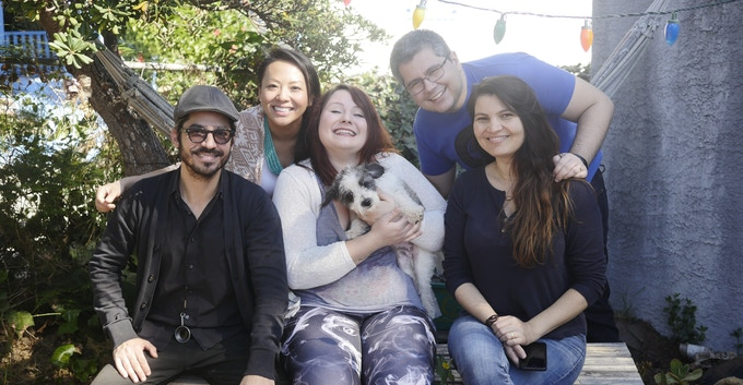 Alejandro, Chao, Corina, Alexandre, and Melissa (with Panda the Dog on Corina's lap)