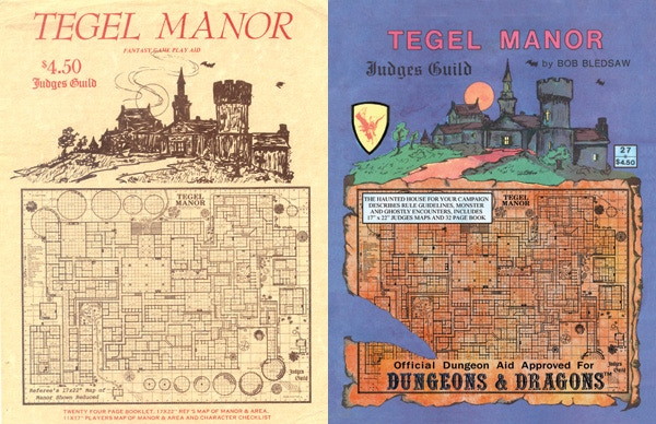 Covers for Tegel Manor, one of the Judges Guild's earliest publications, from the 1st (left) and 4th (right) printings
