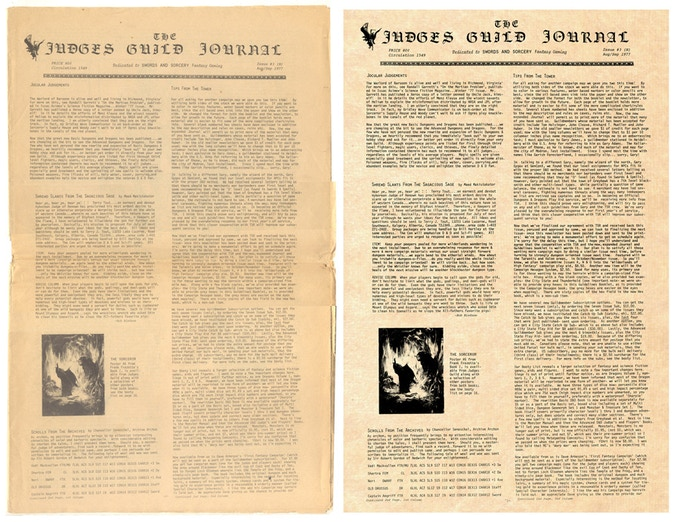 The Judges Guild Journal, Issue N, comparison of extant original copy (left) and restored scan (right)