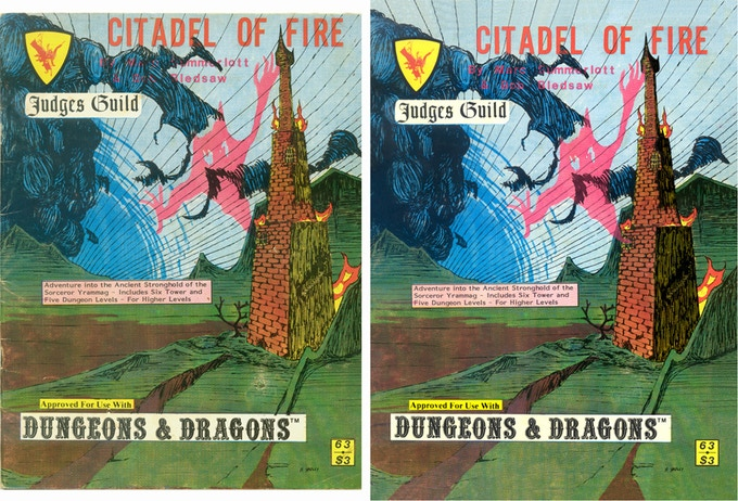 Cover to Citadel of Fire, 3rd printing, before and after restoration. Note the difference in brightness of colors and correction to the original printing registration.