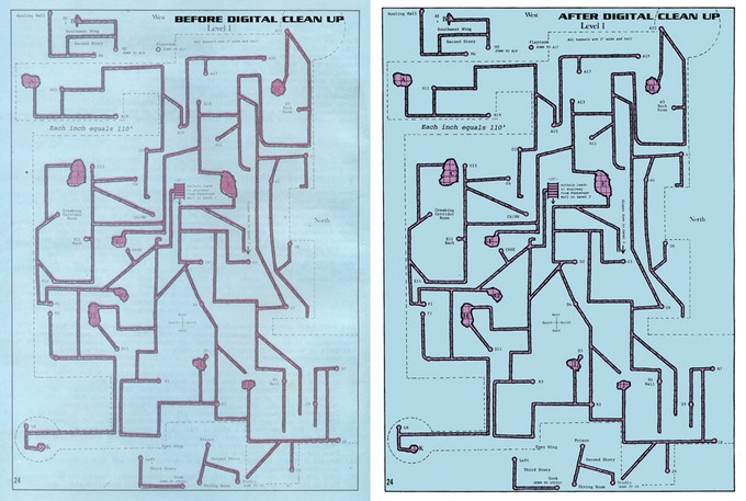 A restored dungeon level map. We've corrected for the mis-aligned colors in the original printing.