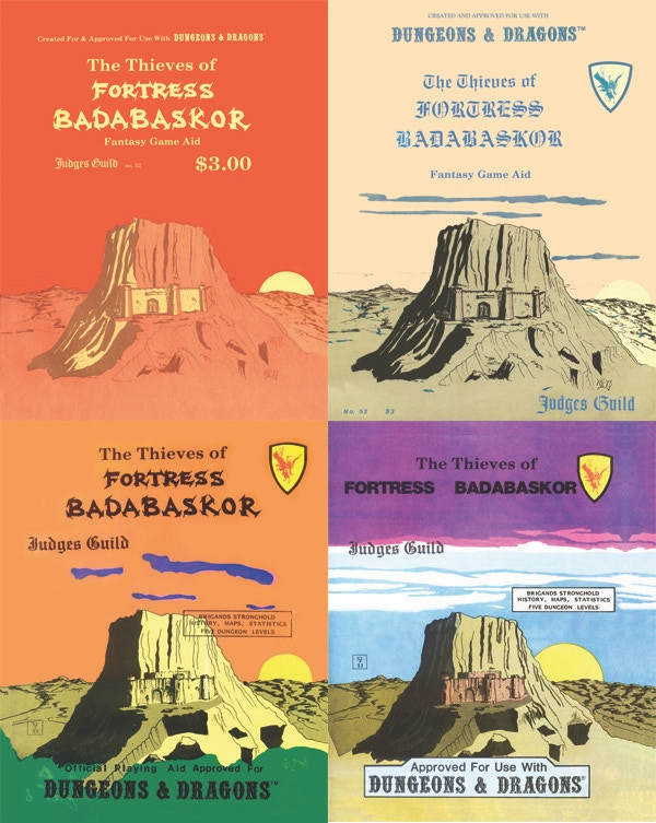 The four printings of Thieves of Fortress Badabaskor, with similar (but not identical) cover art in different colors