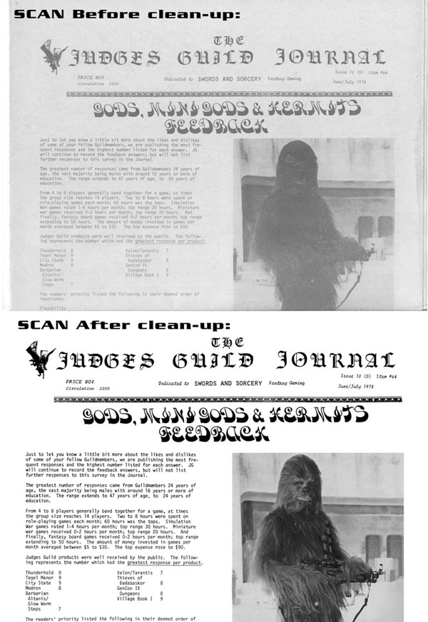 A page of the Judges Guild Journal, before and after restoration. Yes, Star Wars was new and exciting at this time!