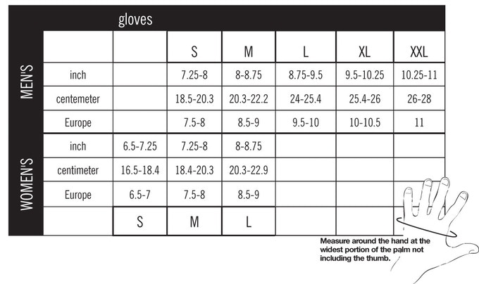 Sizes chart and how to measure (click to enlarge)