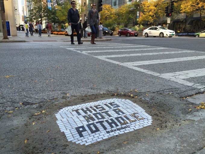 """This is not a pothole. (anymore)"" Michigan and Ohio, Downtown Chicago."