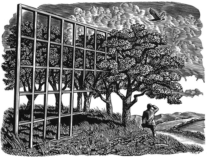"""Imagination in Place"" Wesley Bates engraving"