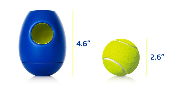 tikr size compared with a standard tennis ball