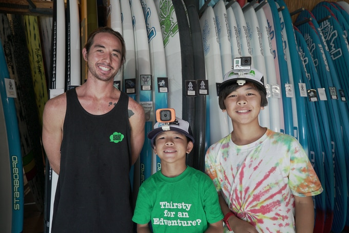 Koko and Buddy with Kevin Fung (Manager of Blue Planet Surf)