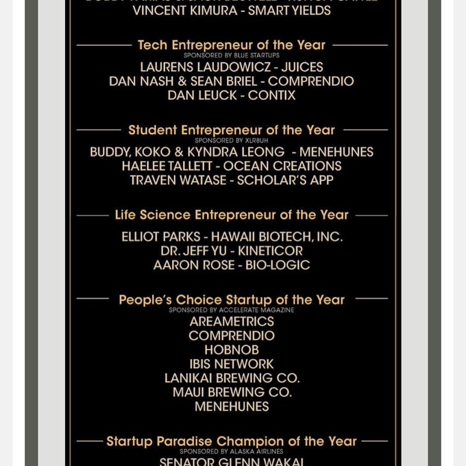 Finalists for Hawaii Venture Capital Assoc Student Entrepreneurs of the Year and People's Choice
