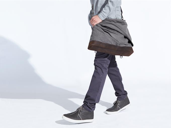 rêve large linen messenger-backpack (gray)
