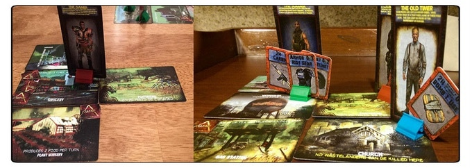 Items are physically placed into card stands for ease of gameplay.