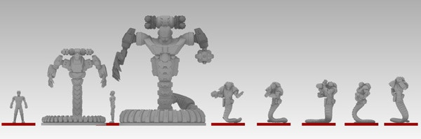 JBR's Power Armour and Mecha Designs next to the Astagar Infantry