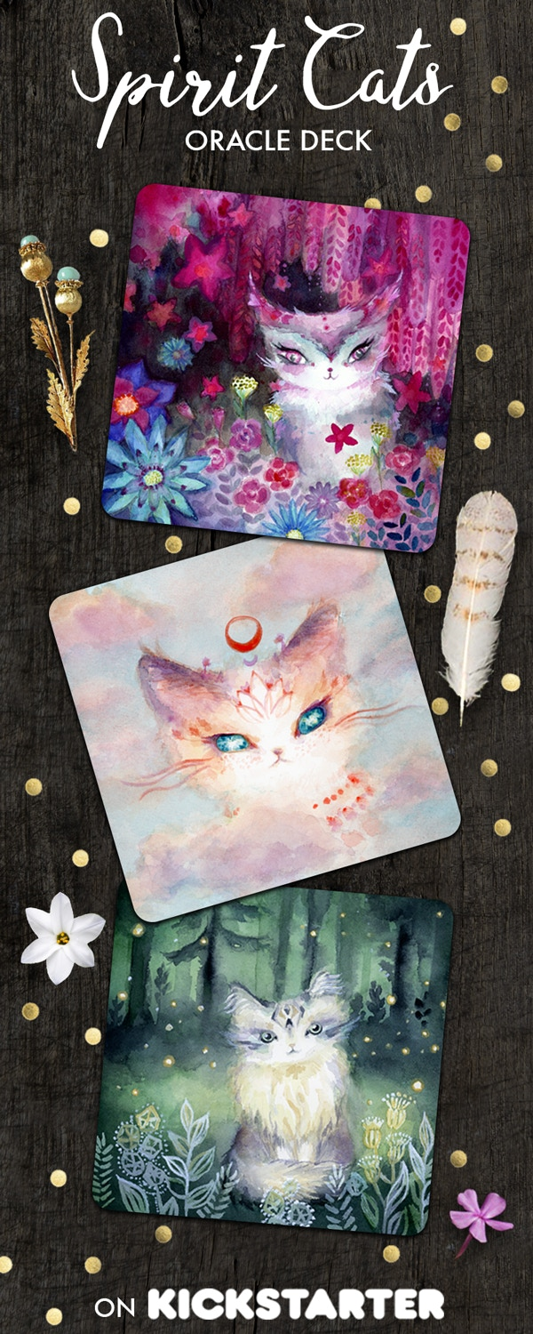 Spirit Cats Inspirational Oracle Deck. Only $20 on Kickstarter. Tarot deck featuring cute magical cats. Let these fluffy philosophers share their healing messages with you and ignite your intuition.