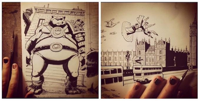Original TURNCOAT art pages by Plaid Klaus