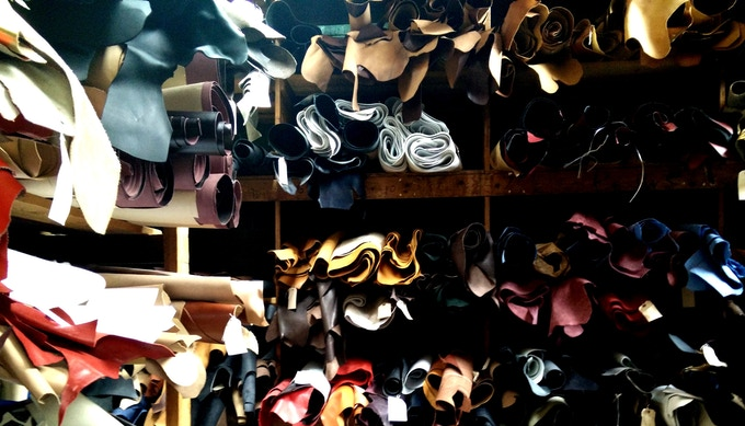 Our leather store room sample selection