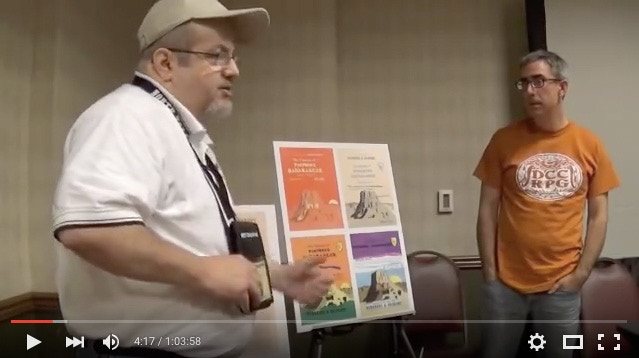 Bob Bledsaw, Jr. and Joseph Goodman at North Texas RPG Convention 2015, discussing this project