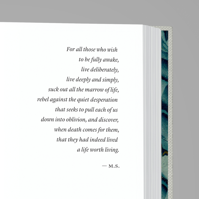 The dedication page. Note the full-color endpapers peeking through.