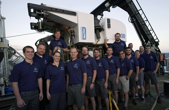 The Global Foundation for Ocean Exploration team in front of the ocean-based Deep Discoverer ROV.