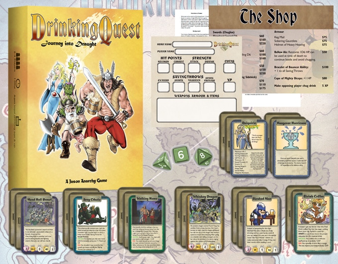 Journey Into Draught comes with 80 Unique cards, 3 polyhedral dice, a pad of character sheets, an oversized shop card and instructions in a two piece box