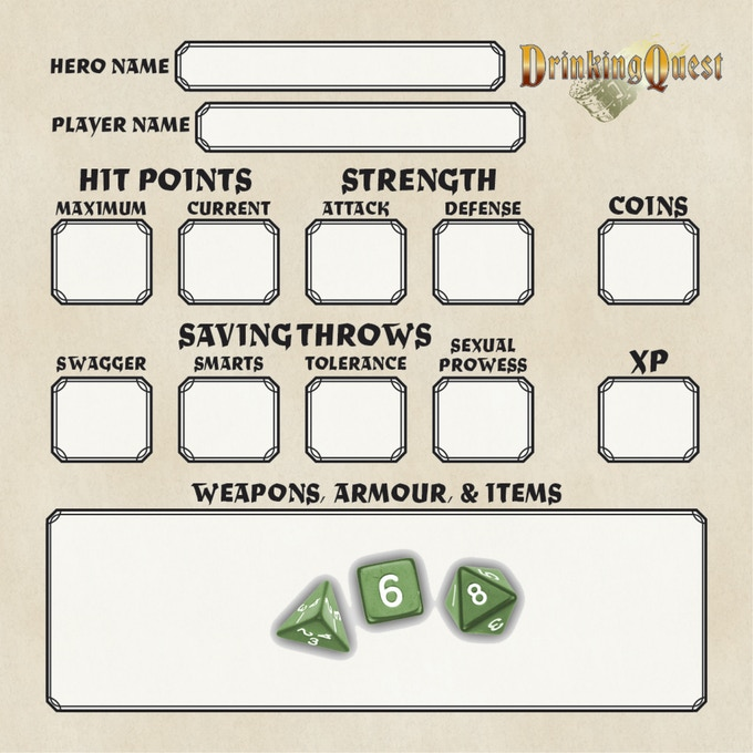 The game comes with a pad of 40 character sheets and some green polyhedral dice
