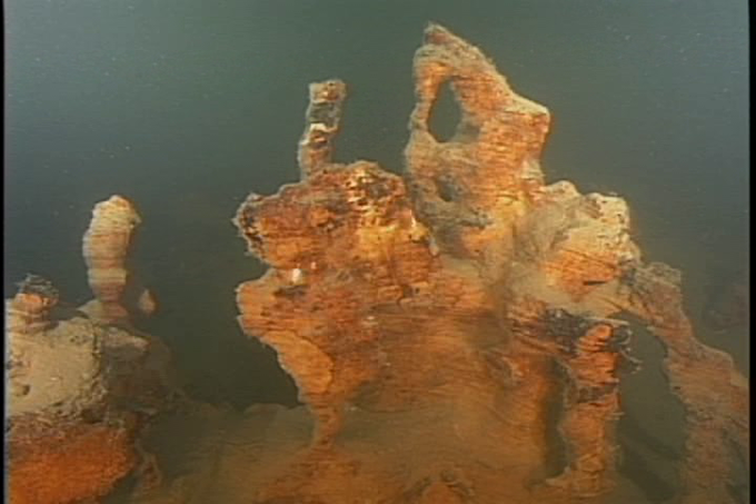 Unique rock formations at the bottom of Yellowstone Lake, as imaged by the original Yellowstone Robot.