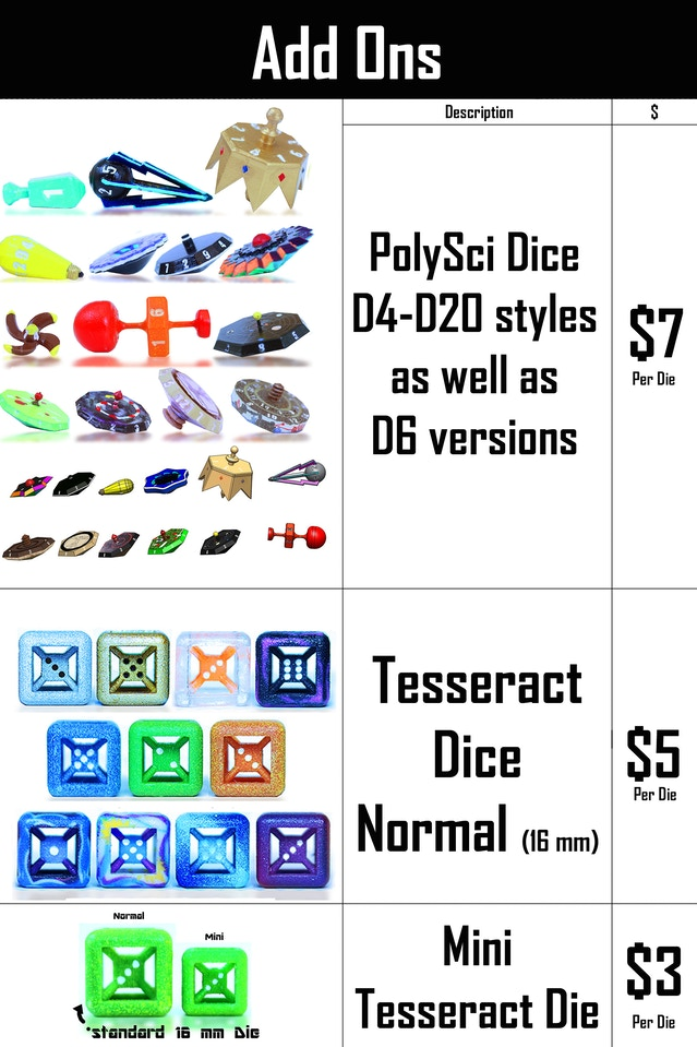 Tesseract Dice (D6 and polyhedral Science Dice) by David Franklin
