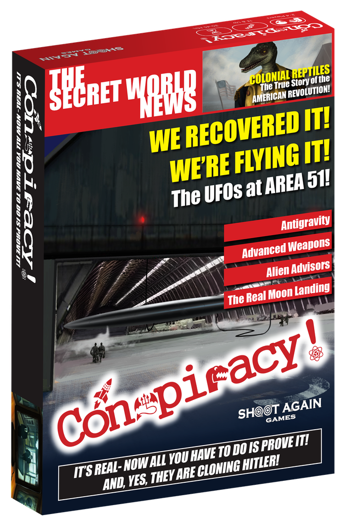 Conspiracy! A card game for 2-4 conspiracy theorists. We must expose the TRUTH to the world, before it's too late!