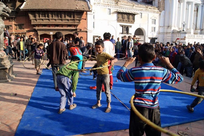 Circus Kathmandu delivering outreach workshops in Nepal