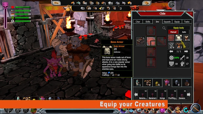 Equip your creatures to give them different attributes and change their appearance