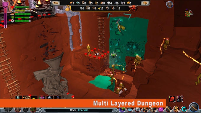 Expand your dungeon vertically in order to create strategic advantage points over enemy forces
