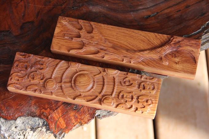 "Honduran Rosewood banded with Bubinga, ""Water Torrent"" and ""Arcane Circle"" sculpts."