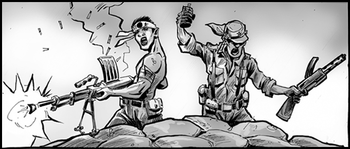"""Semper Fi"", FUBAR: Empire of the Rising Dead. Illustrated by Jeff McComsey & Steve Becker."