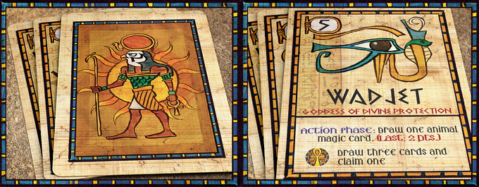 """God Action: Each turn, the Gods grant actions to those who have """"won"""" their favor. Wadjet, the Goddess of divine Protection, allows you to draw the top Animal Magic Card from your supply and add it to your hand."""