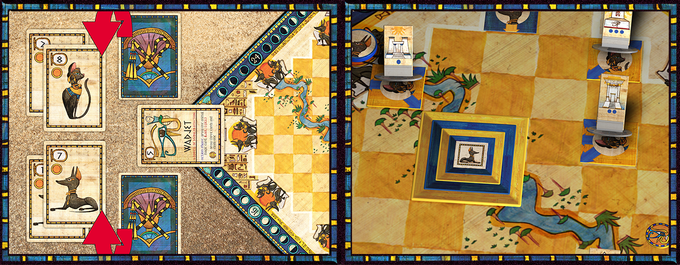 In the Bidding Phase (left), players compete to earn the favor of different gods. In the Action Phase (right), players call on these favors to perform specific actions on the board.