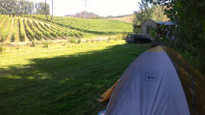 Summer tent residence while working the vineyards in New Zealand