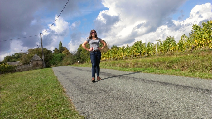 Feeling giddy in a French vineyard in the Loire Valley