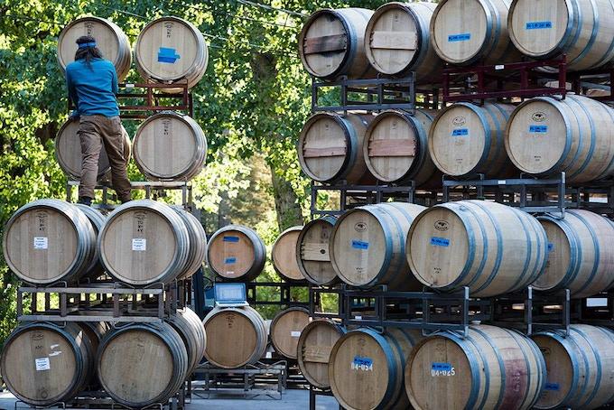 Getting the barrels in order in Santa Cruz, CA